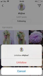 Unfollow Instagram Hashtag